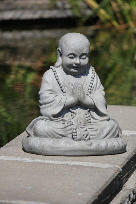 tuinbeeld mediterende dikbuik boeddha 53cm 2 beelden