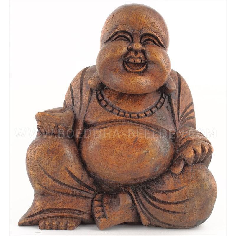 Dikbuik Boeddha Hout   Beelden kopen com