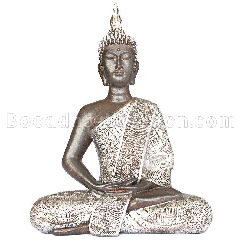 thaise boeddha mediterend 21cm zwart zilver1