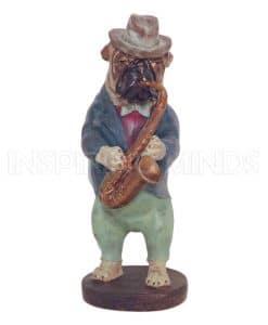 Bulldog Playing Saxophone 40cm