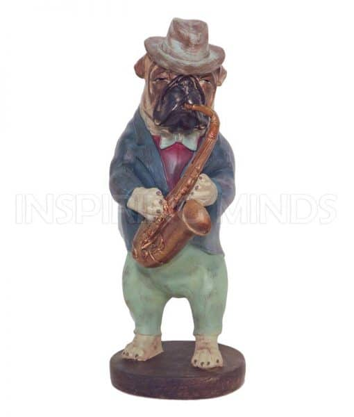 Bulldog Playing Saxophone 40cm
