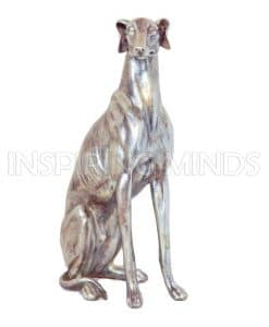 Zittende Hond Zilver 53cm