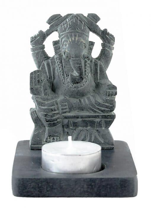 Ganesha beeld met waxinelichthouder grijs