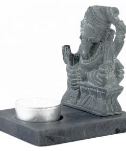 Ganesha beeld met waxinelichthouder grijs zijkant